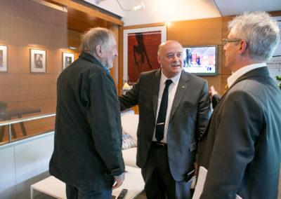 Bernard Giudicelli a été élu président de la Fédération Française de Tennis le 18 février 2017. Un nouveau compagnon de route pour Denis Lalanne venu le saluer en compagnie de Christophe Penot, l'organisateur.